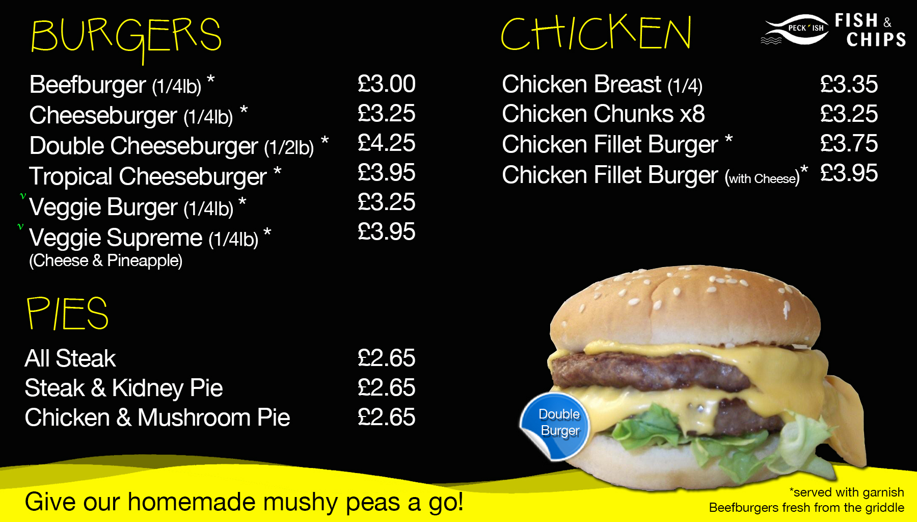 Peckish fish and chips menu 2