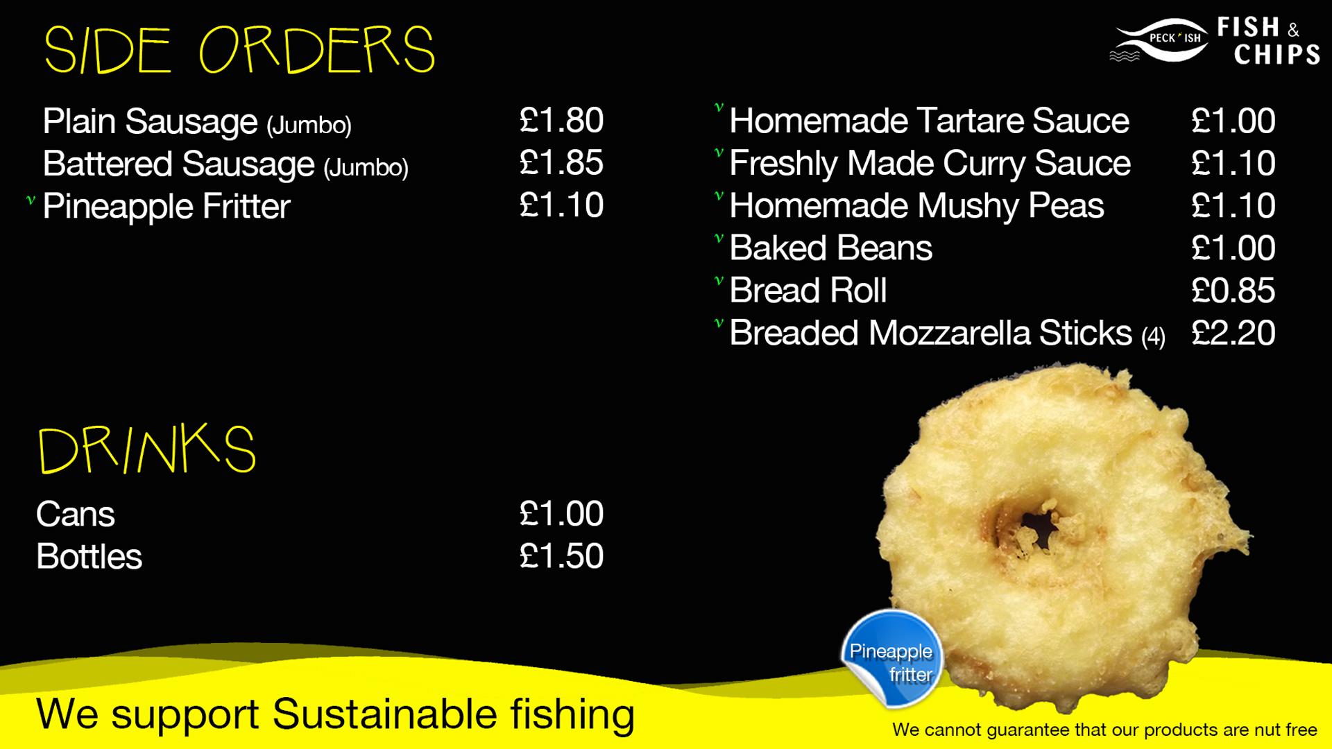 Peckish fish and chips menu 3